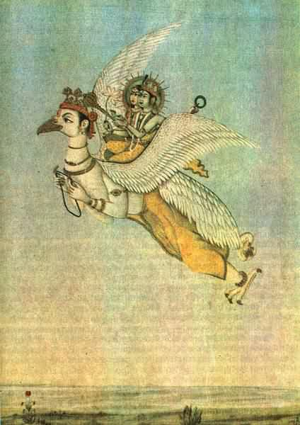 Бог вишну и богиня лакшми летят на
